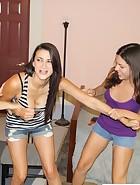 Cheyene and Edanya spank Riley