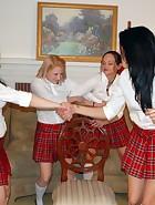 4 girls spanking, pic #1