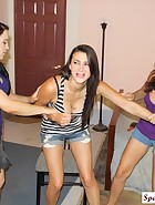 Cheyene and Edanya spank Riley, pic #1