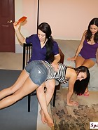 Cheyene and Edanya spank Riley, pic #4