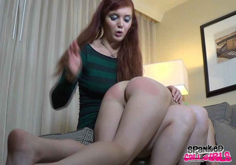 Knee spanked over her Spanked on
